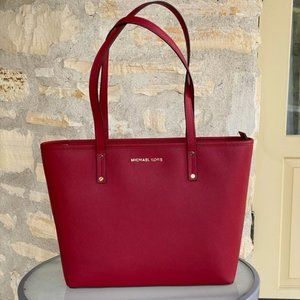 NWT Michael Kors md tz leather tote scarlet
